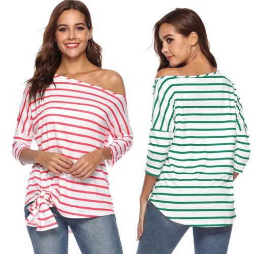 39b6be2f7d3c0 Women Ladies T-shirt Loose Long Sleeve Tops One Shoulder Off Lace Up  Striped T-Shirts Online with  35.0 Piece on Bibei04 s Store