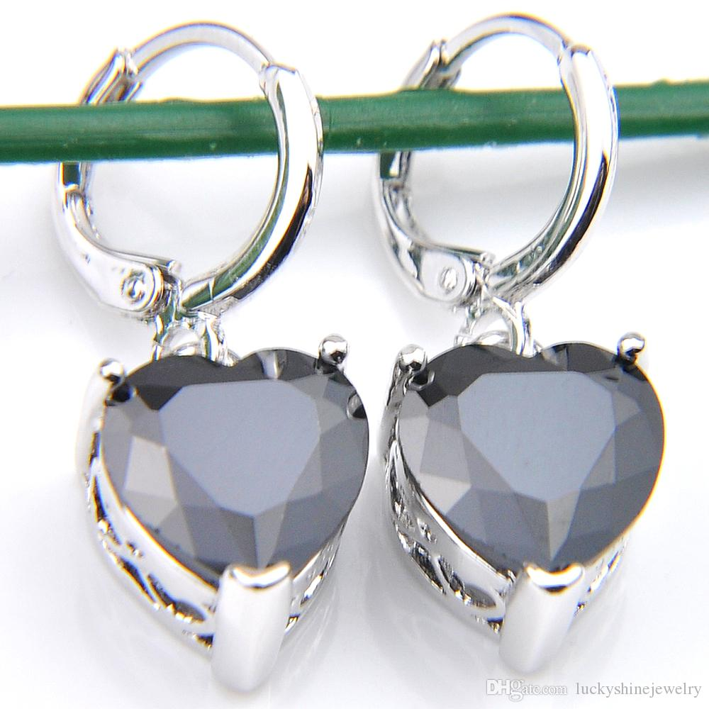 10Prs Luckyshine Fashion Shine Heart Fire Black Onyx Cubic Zirconia Gemstone Silver Dangle Earrings for Holiday Wedding Party