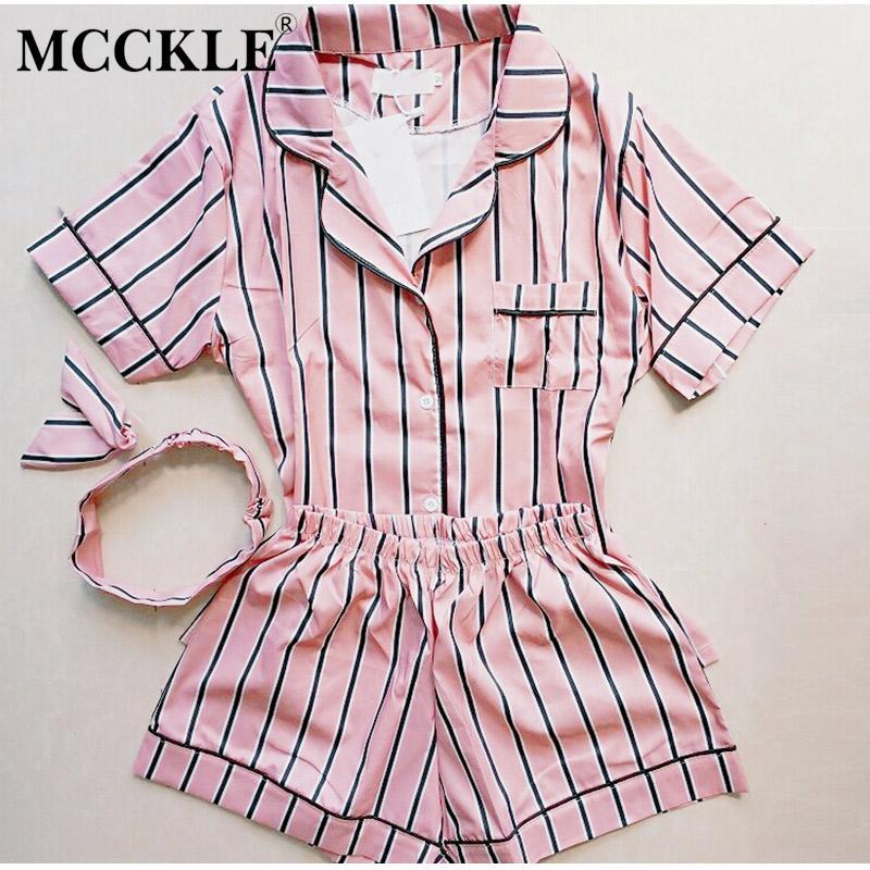 52806fef32dd 2019 MCCKLE Women Striped Cute Print Pajama Sets Shirt And Shorts Sets  Nightwear Female Girl Short Sleeve Sleepwear Pajamas From Kuaikey