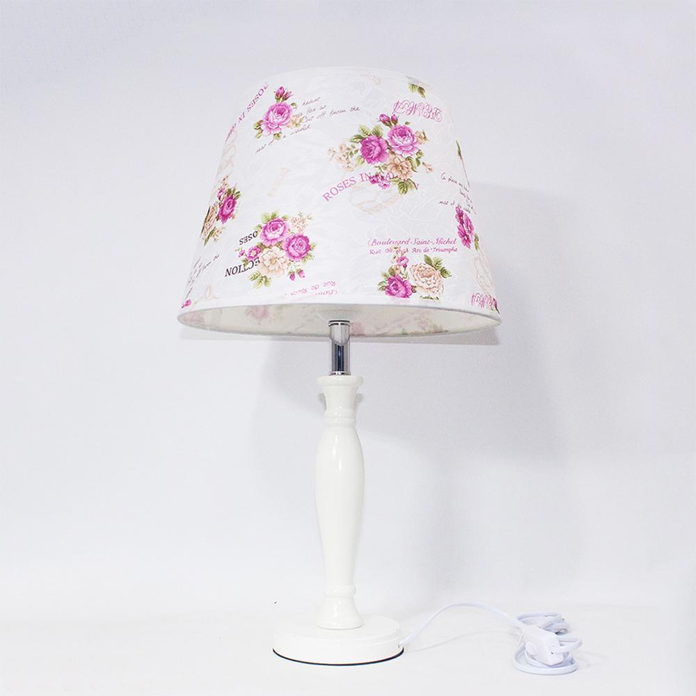 Chambre S'allume Vintage E27 Fleur Tissu Style Moderne Pour Salon L'étude Bureau Led Nouveauté Lit 220 Lampe Hôtel V Bois Table De oCedBx
