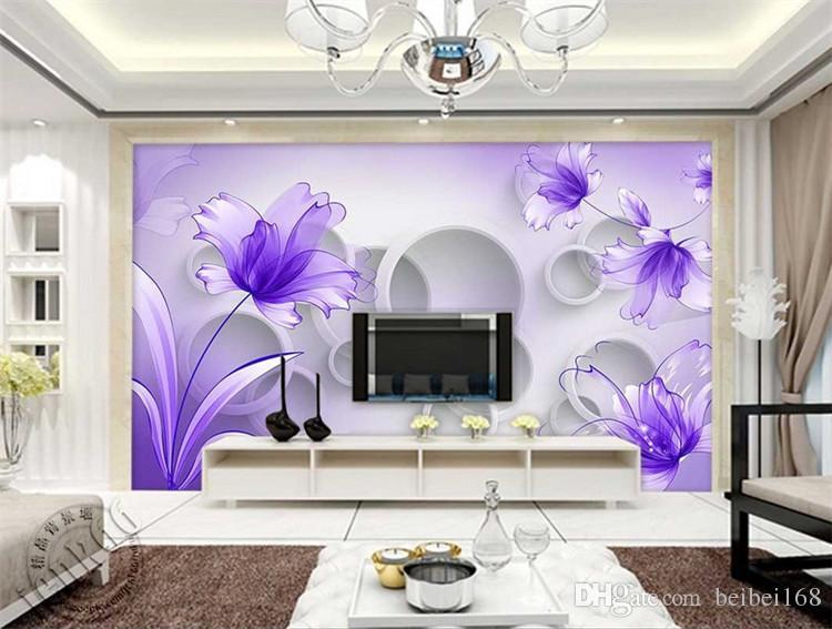 Purple Flower Wallpaper 3D Wall Mural for Living Room TV Background Wall Art Decor Print Photo Wall Paper papier peint 3d fleur