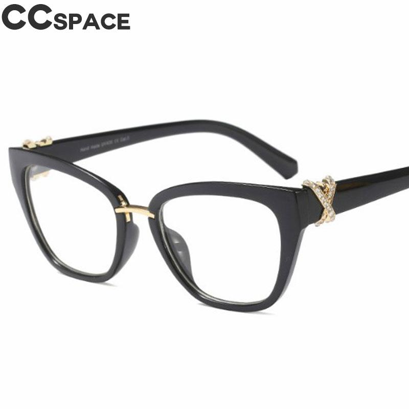 b7255bda180 2019 2018 Luxury Rhinestone Glasses Frames Women Cat Eye Eyeglasses  Accessories Designer Fashion Near Sighted Computer Glasses 45605 From  Frenky