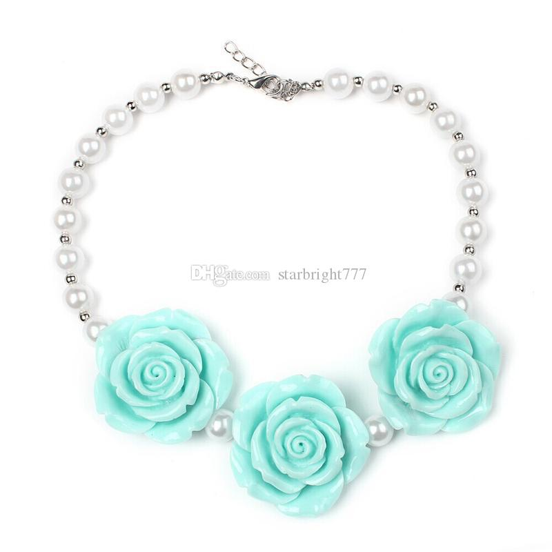 New Arrival Children Boutique resin Rose Flower Necklace Girls Princess Chunky Bubblegum Necklace For Dress Up