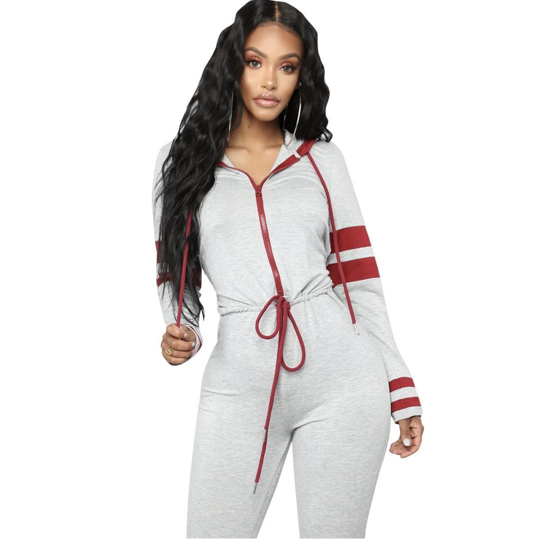 83f8b6711d3c 2019 Women One Piece Outfit Jumpsuit Long Sleeve Bodycon Front Zipper  Hooded Long Pants Black Casual Rompers Sport Workout Jumpsuit From Vikey16,  ...