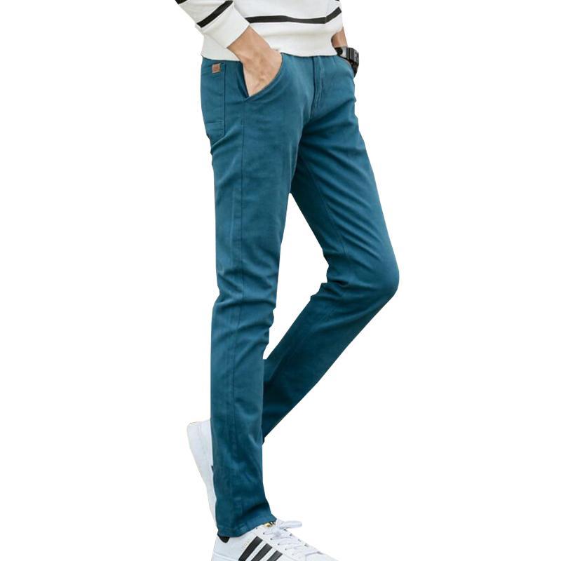 Compre 2018 Nuevo Diseño Casual Hombres Pantalones De Algodón Pantalones  Delgados Pantalones Rectos Negocios De Moda Sólido Caqui Negro Pantalones  Largos ... 3221a6409999