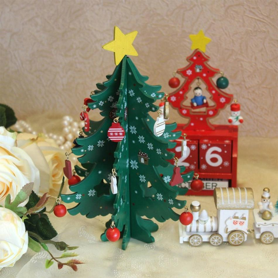 2018 Christmas Tree Painted Wood With Stars Crutch Boots Ornament Xmas  Decoration For Home New Year Gifts Navidad Tree Decor D18110903 Luxury  Christmas ...