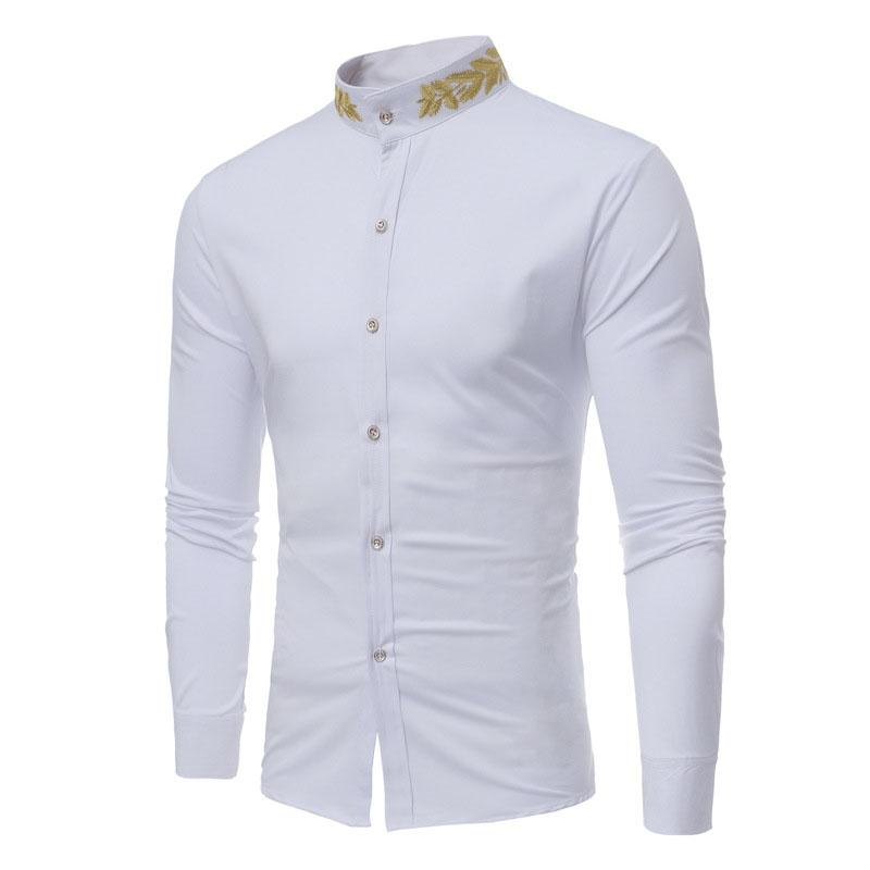 af203989 2019 Men Shirt 2018 Designer T Shirts Casual Embroidery Stand Collar Shirt  Mens Dress Shirts New Chemise Long Sleeved Mens Designer Shirts From  Fulary_b, ...