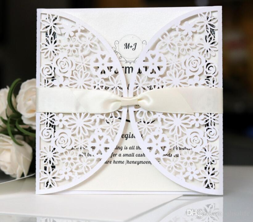 Convite De Casamento Tradicional Branco Elegante Azul Marinho Laser