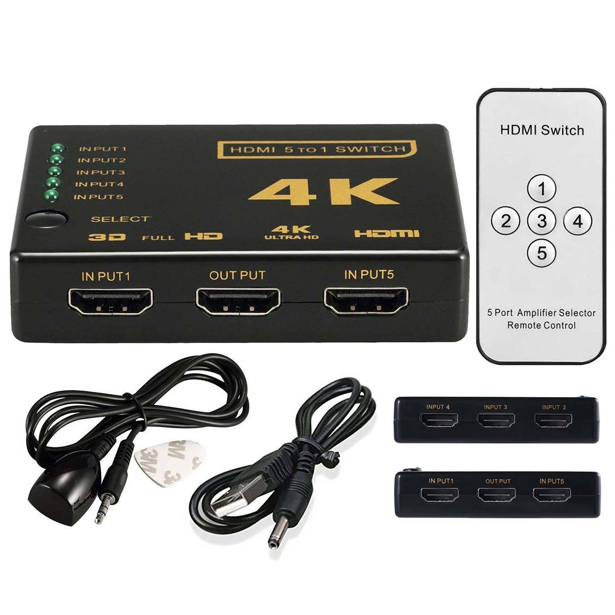 HDMI Splitter Switch Box Ultra HD 5 Port 4K 3D 1080P IR Remote Control  Selector 5 in 1 Extender For HDTV 1080P Vedio