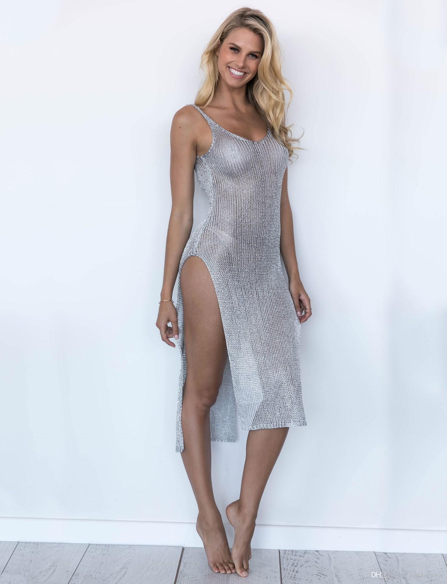 Mulheres Sexy Praia Encobrimentos Oco Out Malha Dividir Regata Longo Vestido Capa Corpo Bainha Desgaste Seaside