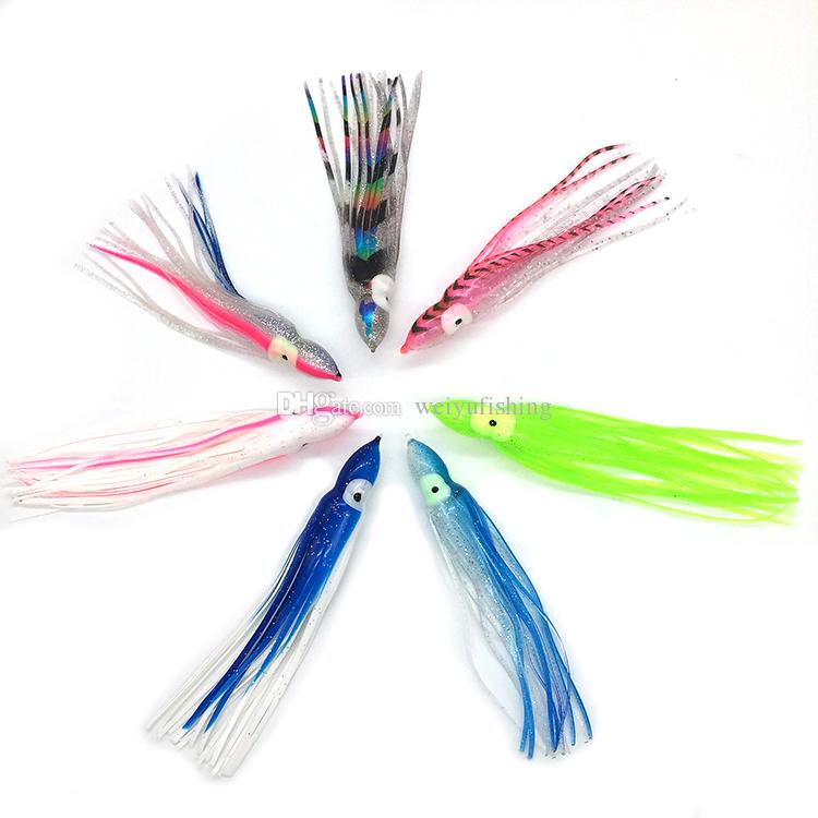 Weiyu Fishing Lure 6.5inch/16.5cm Soft Plastic Octopus Skirt with Eyes Colormix Saltwater Octopus Bait For Fishing