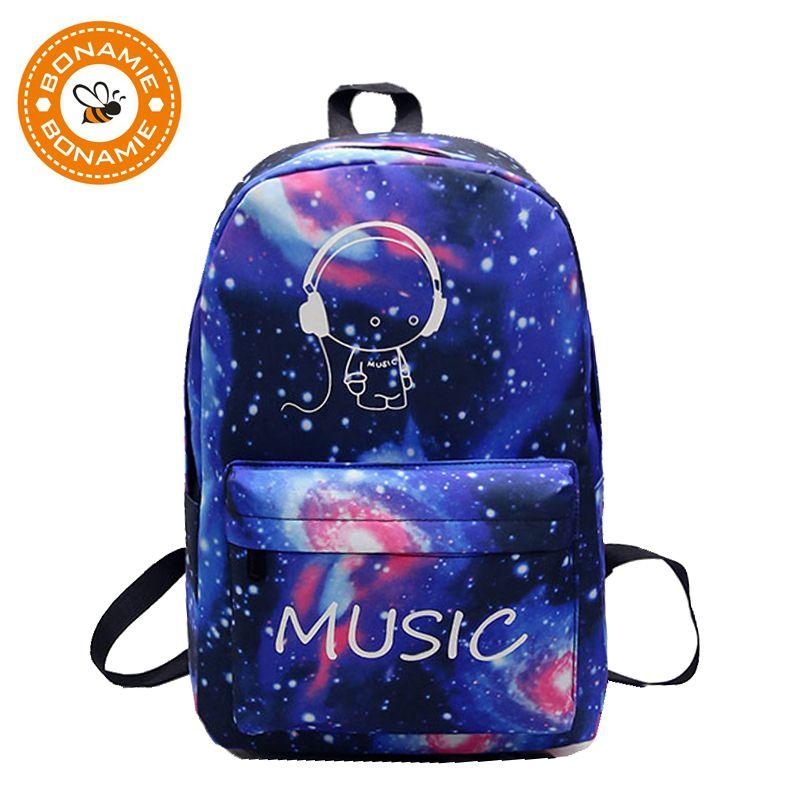 484194af488b BONAMIE Night Light Cool Backpack Music Boy Backpacks Luminous School Bags  For Teenager Girls Boys Book Bag Starry Sky Backpack