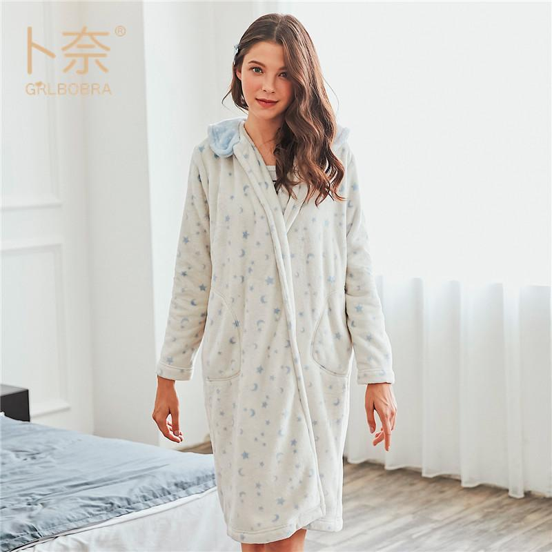 2019 Ladies Sexy Satin Night Dress Warm Flannel NIghtgown Women Sleepwear  Long Sleeve Nighties V Neck Nightdress Sexy Nightgown Hot From Aprili 5b633c638