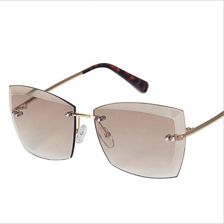 3d3392ce6f Luxury Sunglasses For Women Square Rimless Diamond Cutting Lens Brand  Designer Fashion Shades Sun Glasses for You Luxury Sunglasses Square  Sunglasses ...