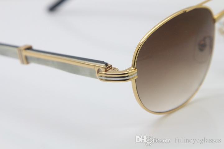 무료 배송 18K 골드 블랙 화이트 버팔로 호른 안경 CT569 라운드 메탈 선글라스 도매 선글라스 C 장식의 골드 크기 : 57-22-135mm