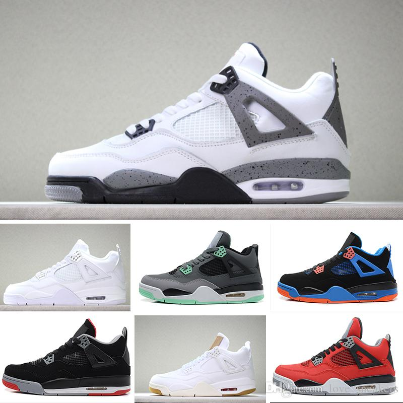 89bfd6afa37 2018 4s Shoes Men Pure Money Royalty White Cement Black Cat Bred Fire Red  Mens Size 8 13 Blue Shoes Clogs For Women From Love sneakers