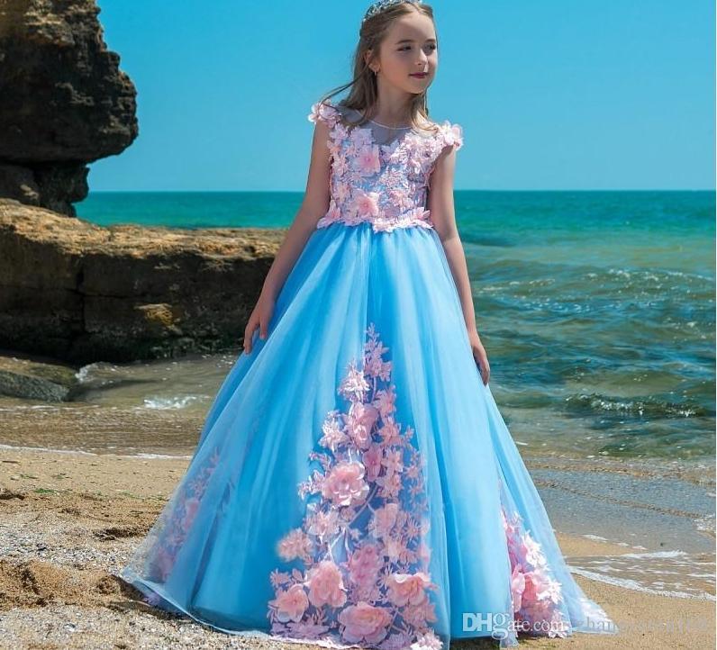 Élégante princesse robes de fille de fleur bleue pour le mariage rose appliques Tutu dentelle 2018 nouvelle arrivée fille fille robes de reconstitution historique