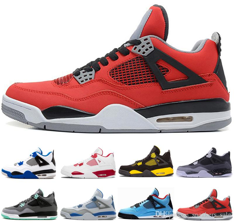 new styles 4bca5 b1a77 4s toro bravo Green Glow Fire Red Fear Pack white cement men basketball  shoes designer sneakers with box bred sports shoes US 8-13