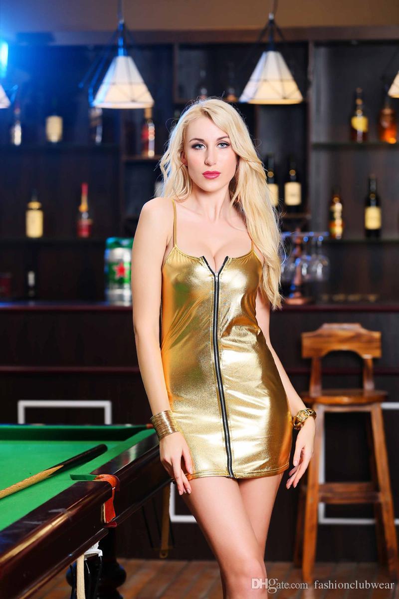 Night Dress lucido metallizzato Bandage Vestitino donne sexy spalline scollo a V partito bagnato Full Zip Pole Dancing Dress