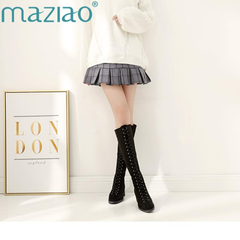 High Quality Sexy Winter Boots Women Thigh High Boots New Lace Up knee length Women Punk MAZIAO