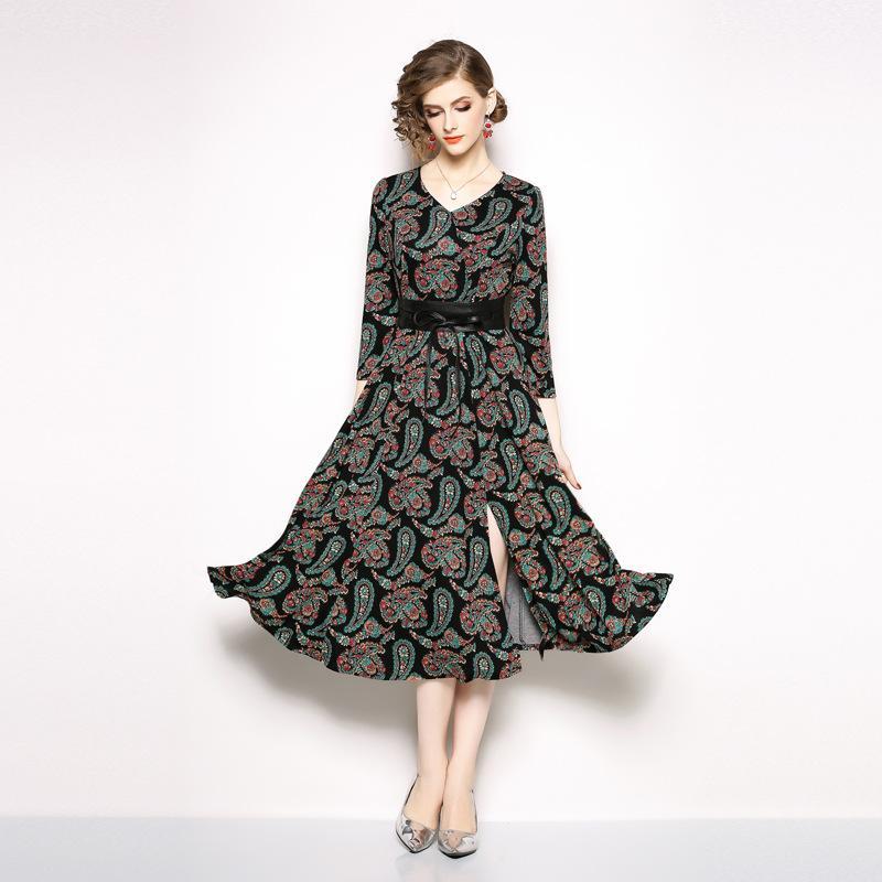 f927eddf9 Compre Vestidos De Fiesta Vintage Para Mujeres Vestido De Fiesta Cintura  Alta Y Delgada Con Estampado Floral Vestidos Largos De Playa A  39.0 Del ...