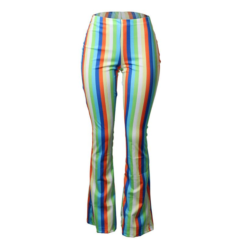 22030b5d8ca 2019 New Summer Style Rainbow Stripes Women Trousers Casual Skinny High  Waist Sexy Wide Leg Pants S XL From Liasheng02