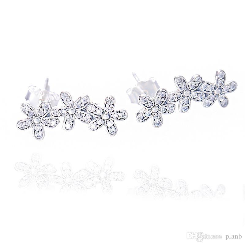 Autentico orecchino di fiori in argento sterling 925 con scatola logo Signature with Crystal orecchini Pandora Jewelry Orecchino Orecchini da donna