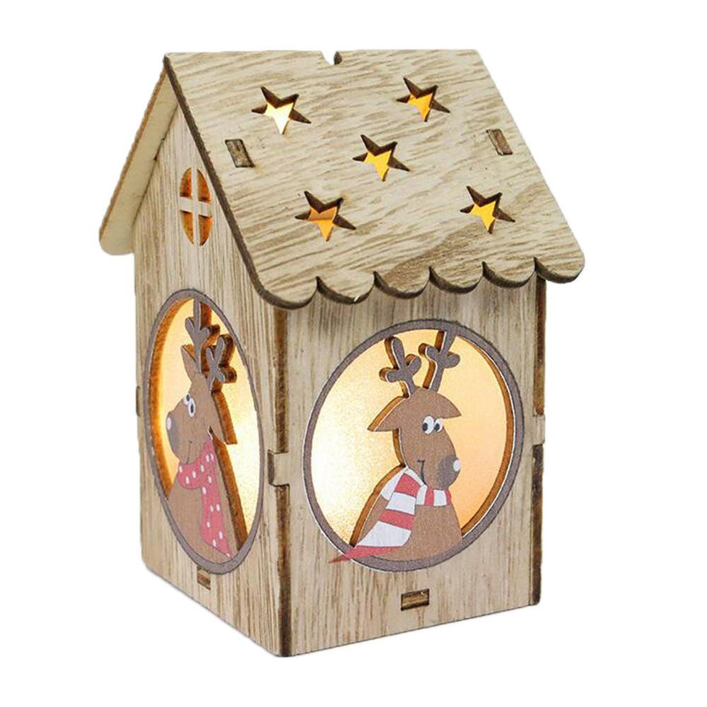 Christmas Decorations For Home 2018 New Year LED Light Wooden Dolls House Villa Ornaments Xmas Tree Hanging Decor D18111202