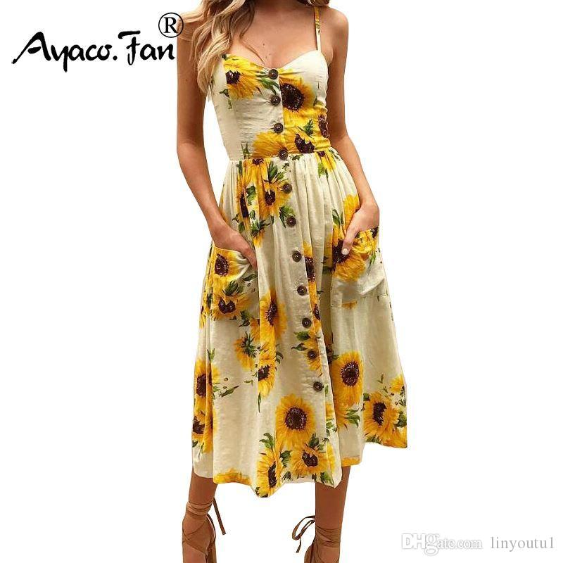 83ec434a68f Sexy V Neck Backless Floral Print Summer Beach Dress Women 2018 Boho  Sunflower Daisy Pineapple Party Midi Dresses Plus Size 3XL Prom Dress  Designers Coctail ...