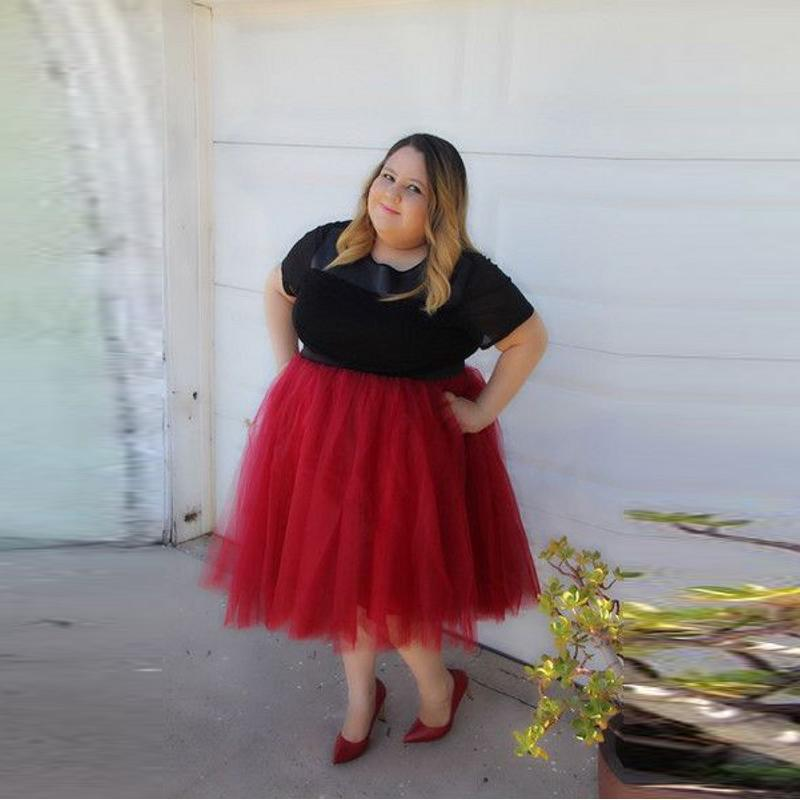 f3d66146ea 2019 Fashion Plus Size Skirts Women Custom Made A Line Knee Length Red Tutu  Skirt Casual Style Adults Tulle Skirt From Berniee, $40.37 | DHgate.Com