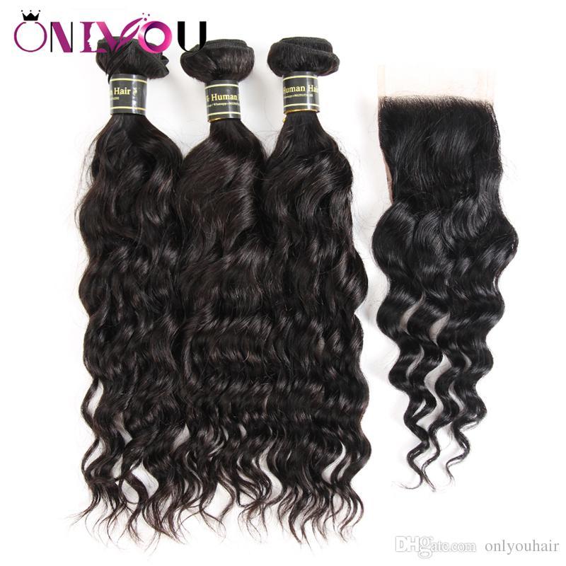 Fasci di capelli vergini brasiliani non trattati con chiusura in pizzo 3 offerte di bundle e parte centrale parte libera tesse tessuto economico capelli umani