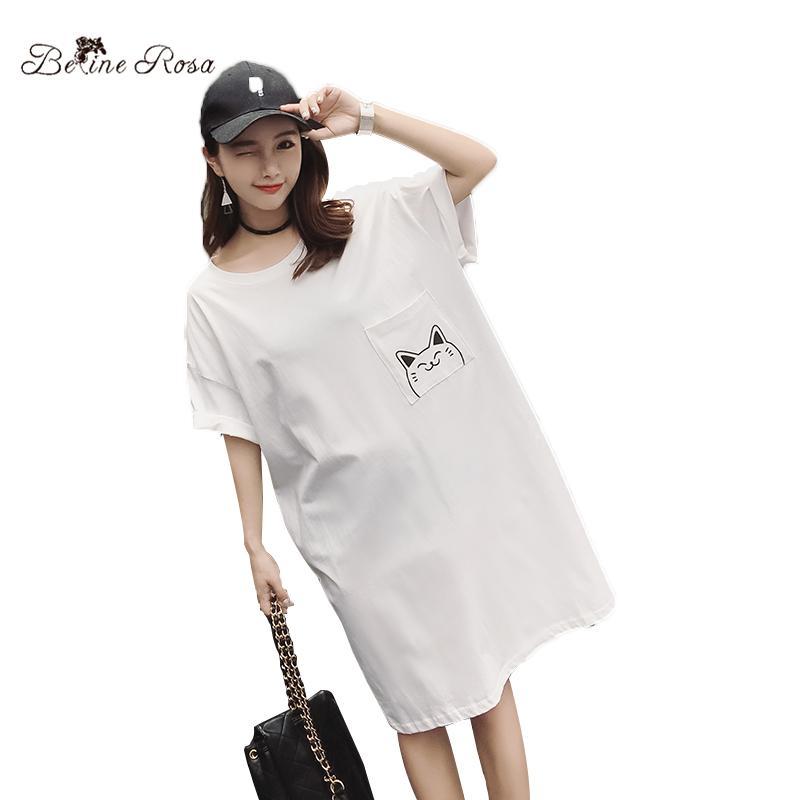 40e99a1481641 Compre BelineRosa Plus Size T Shirt Vestido Kawaii Cat Impressão Branco  Casual Estilo Solto Camisa De Vestido Doce Roupas Tamanho Grande HM000011  De ...
