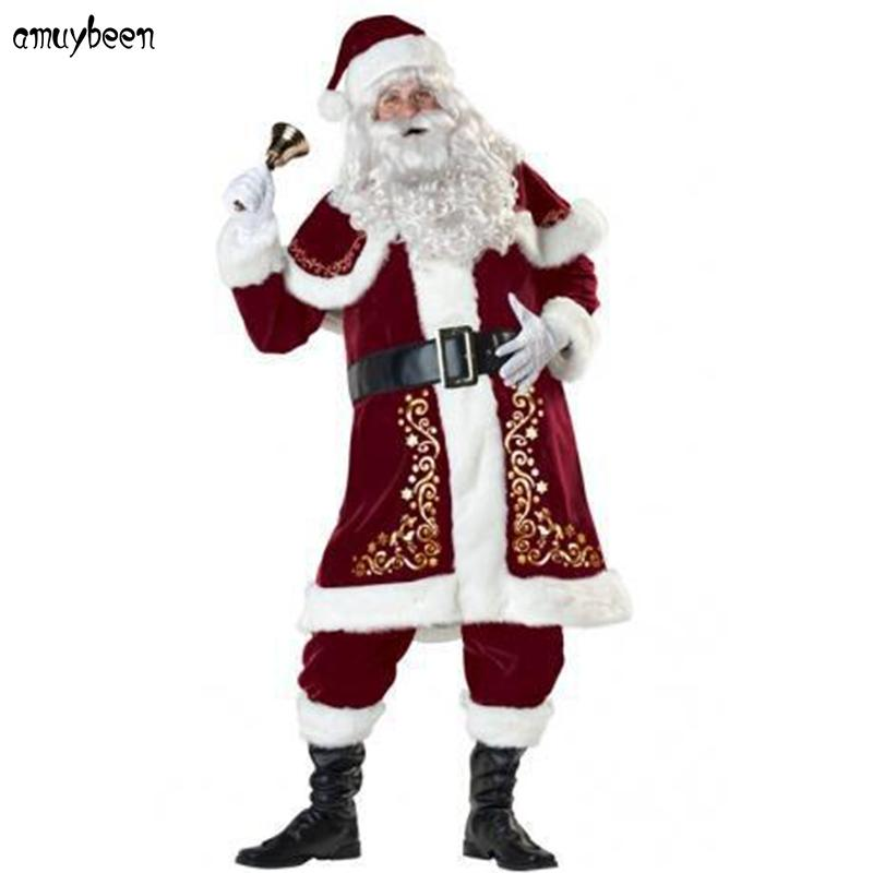 Santa Claus Costume Christmas Adult For Men Red A Full Set Plus Size