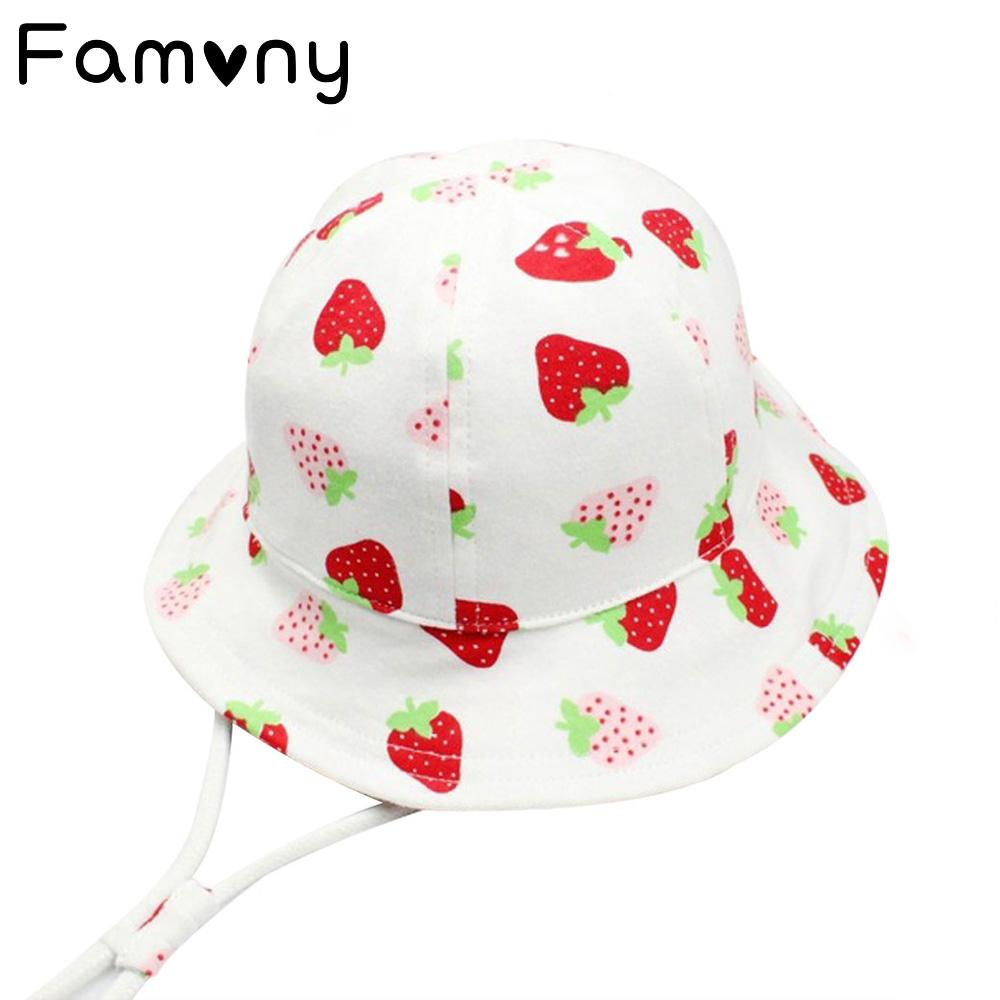 2019 Sweet Strawberry Printed Sun Hat With Adjustable Soft Fabric Infant  Cap Spring Summer Sunscreen Hat For Baby Girls Accessories From Universecp bcbcdacf34fa