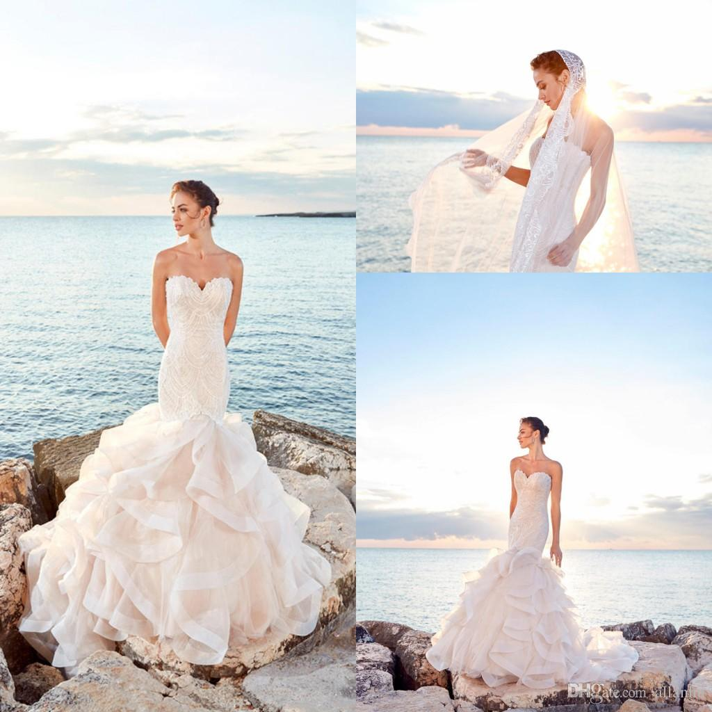 Sexy 2018 Beach Mermaid Wedding Dresses Sweetheart Beadings Pearls Tiered  Tulle Ruffles Bridal Gown Wedding Dress Vestidos De Novia Wedding Dress  Lace ... 7994688d6c3a