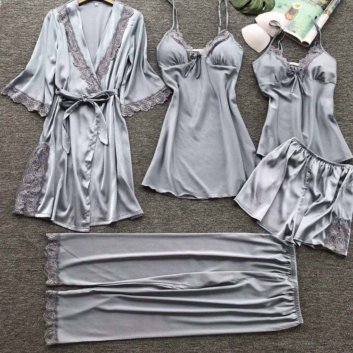 5e62791e16 2018 Women Satin Sleepwear Pyjamas Sexy Lace Pajamas Sleep Lounge Pijama  Silk Night Home Clothing Pajama Suit Y18102205 Adult Onesies Pajamas Bridal  Pyjamas ...