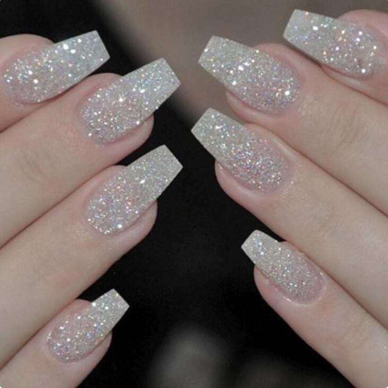 Box Ballerina Nails Acrylic False Nails Full Cover Natural/White ...