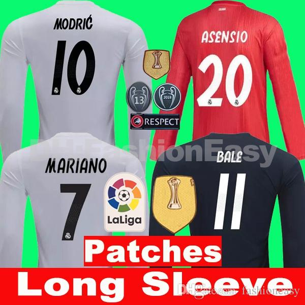3107a22be TOP 2018 2019 Real Madrid Soccer Jersey Away 3rd 18 19 Long Sleeve ...