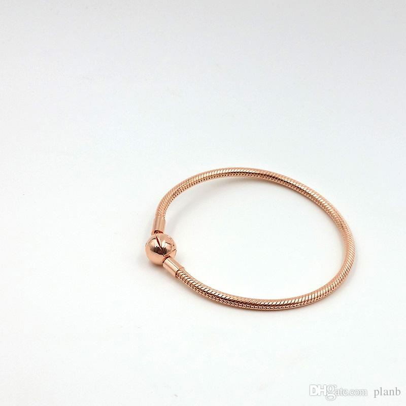 Schöne Frauen 18K Rose Gold 3mm Schlangenkette Armband für Pandora Silber Charms europäischen Perlen Armband DIY Schmuck machen