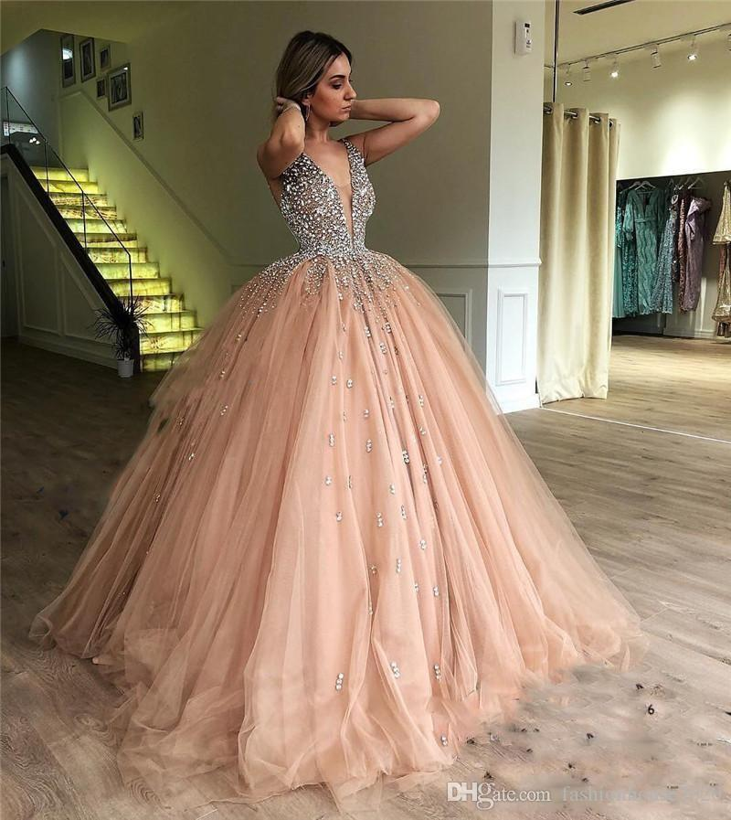 398c2b2fea6fb Champagne BlingBling Prom Dresses 2018 Deep V Neck Beads Crystal Backless  Ball Gown Puffy Long Arabic Formal Quinceanera Evening Party Gowns