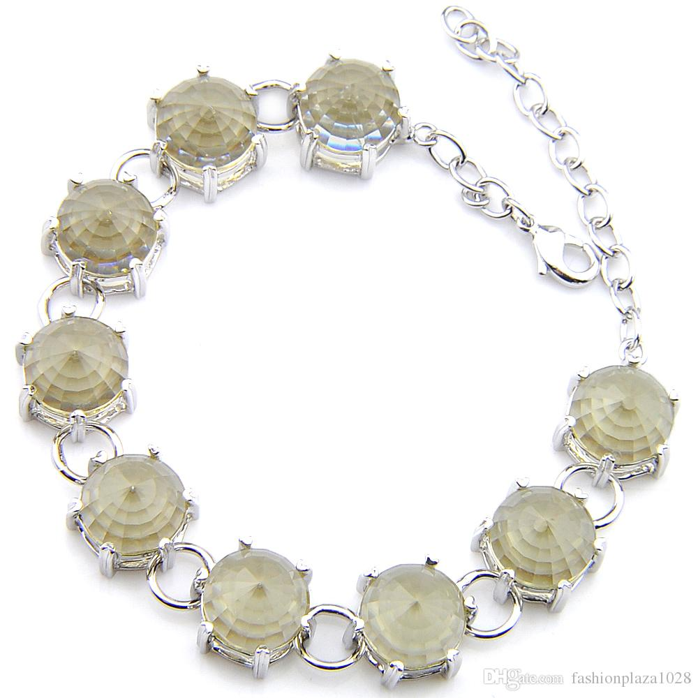 2Pcs/Lot Holiday Gift Luckyshine Round Shaped Brazil Citrine Gems Fashion Charm Women Men Silver Chain Bracelet Bangle