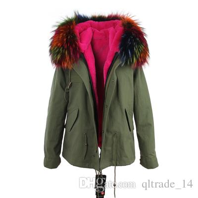 Cold weather snow coats Jazzevar brand White raccoon fur trim rabbit fur lining pink jackets fur parkas Australia new Zealand