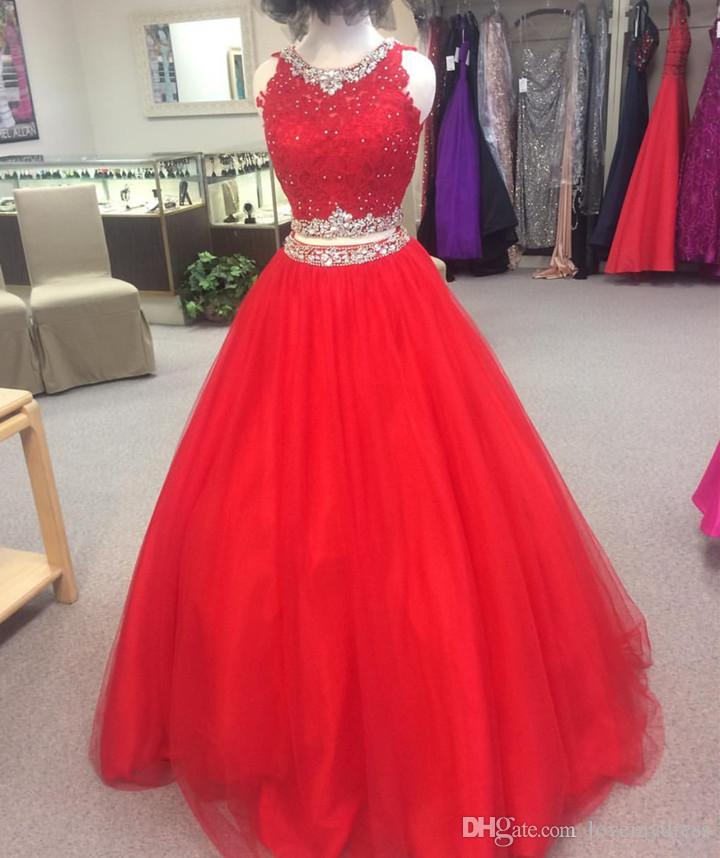 e70dbd9cac29 Fashion Red Cheap Pageant Dresses Two Pieces Beaded Jewel Applique ...