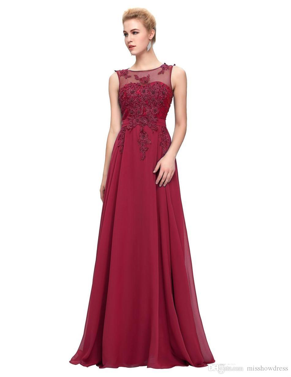 2018 Sheer Jewel Neck A-Line Evening Dresses Purple Red Black Appliques Evening Gowns Party Prom Dresses Plus Size Custom Made Mothers Dress