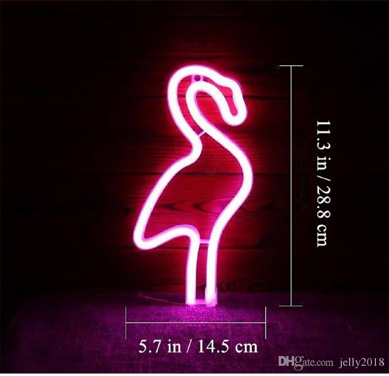 LED Neon Sign Night Lights Cactus Flamingos Unique Design Soft Light Wall Decor Lamp Neon Sign Bright Flamingo Wall Light For Rooms Decor