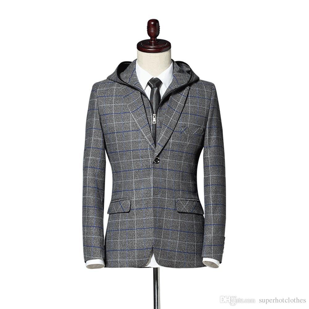 2019 2018 Men S Blazer Suit Jacket Fashion Man Hooded Plaid Blazer