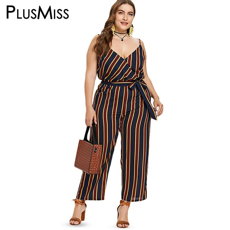 21a5bb246601 2019 PlusMiss Plus Size Striped Spaghetti Strap Jumpsuit Long Pants Women  Rompers Big Size Sexy Bodycon Elegant Overalls Female 2018 From Feixianke