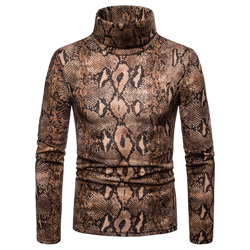 2019 Fashion Leopard Print Turtleneck Sweater Men 2018 Autumn New