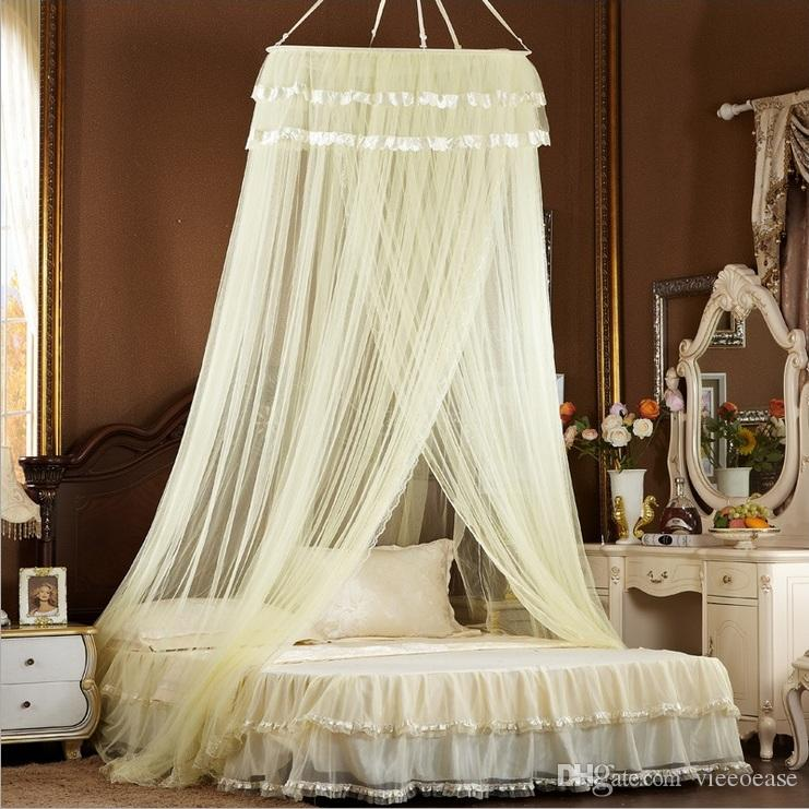 Vieeoease Bed Canopy Bed Curtain Round Dome Hanging Mosquito Net Tent Curtain Moustiquaire Zanzariera Lace Playing Home Klamboe EE-241