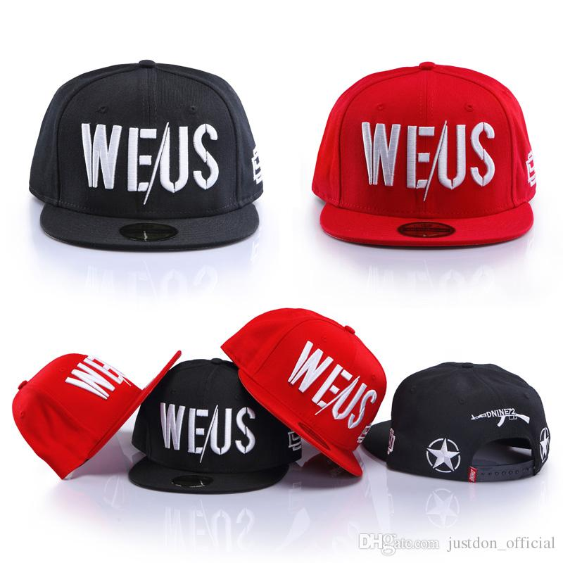 Justdon New D9 WEUS Embroidered Snapback Hats Hiphop Style Solid Flat Bill  High Quality Wool Blend BaseBall Caps For Men Women In Black Red Ball Caps  D9 ... 48549a53eda